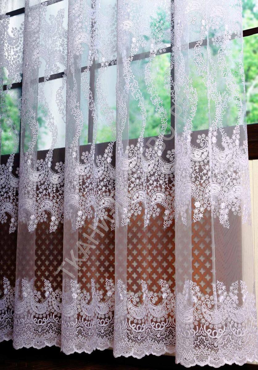 Тюль сетка с вышивкой в интерьере фото